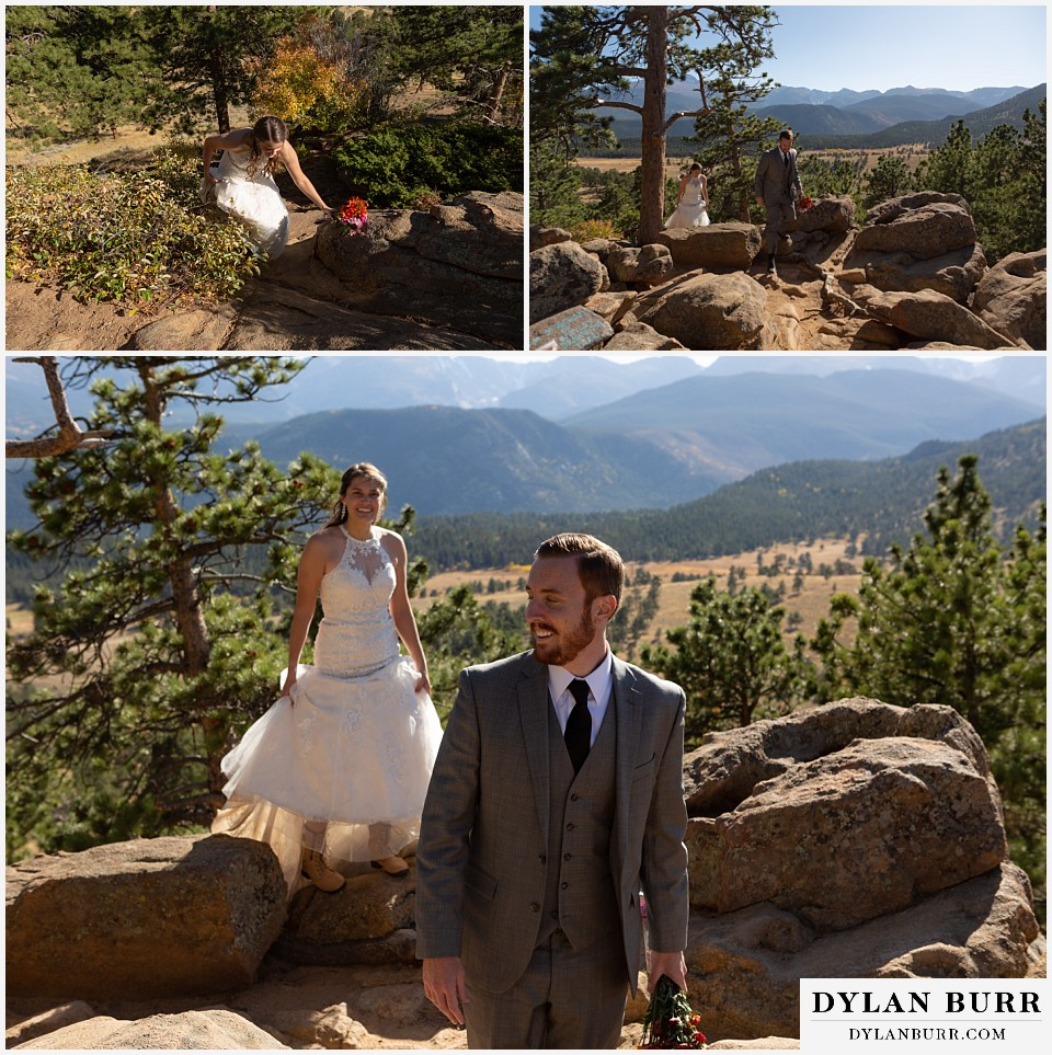 rocky mountain national park elopement wedding couple hiking up hill with cool boots