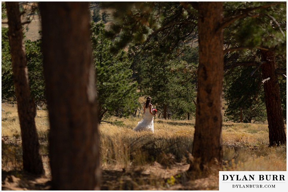 rocky mountain national park elopement wedding bride waiting alone in the trees