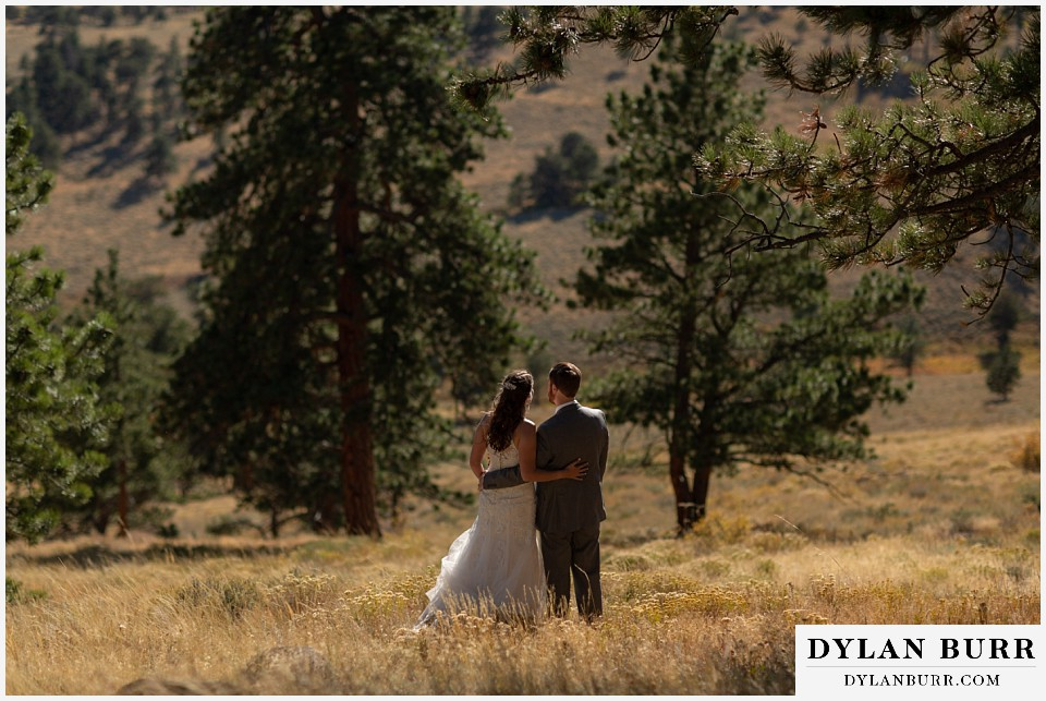 rocky mountain national park elopement wedding bride and groom together