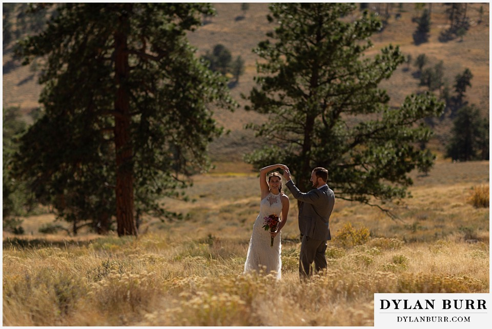 rocky mountain national park elopement wedding dancing in the forest