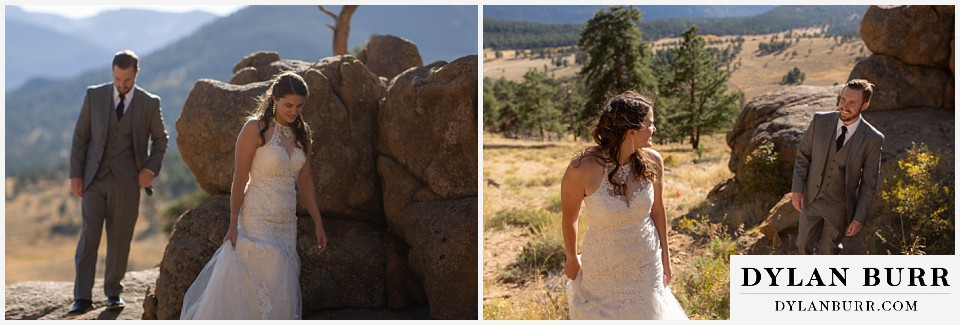 rocky mountain national park elopement wedding walking together in mountain valley