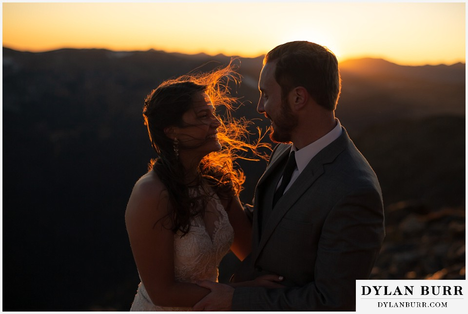 rocky mountain national park elopement wedding brides hair blowing in wind