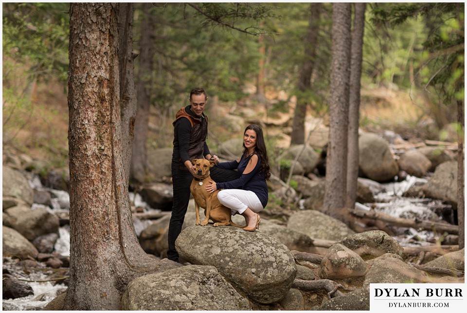 rocky mountain engagement session in colorado with dog