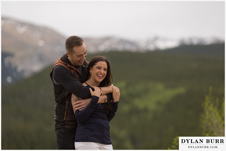 rocky mountain engagement session in colorado mountain peaks