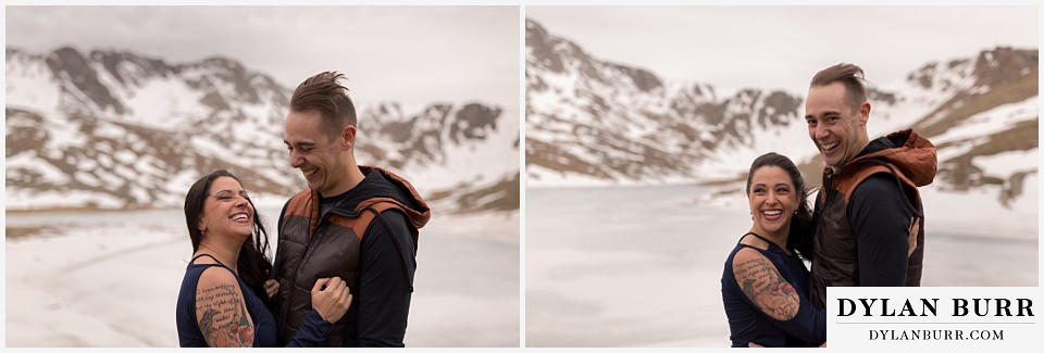 rocky mountain engagement session in colorado intolerable cold wind