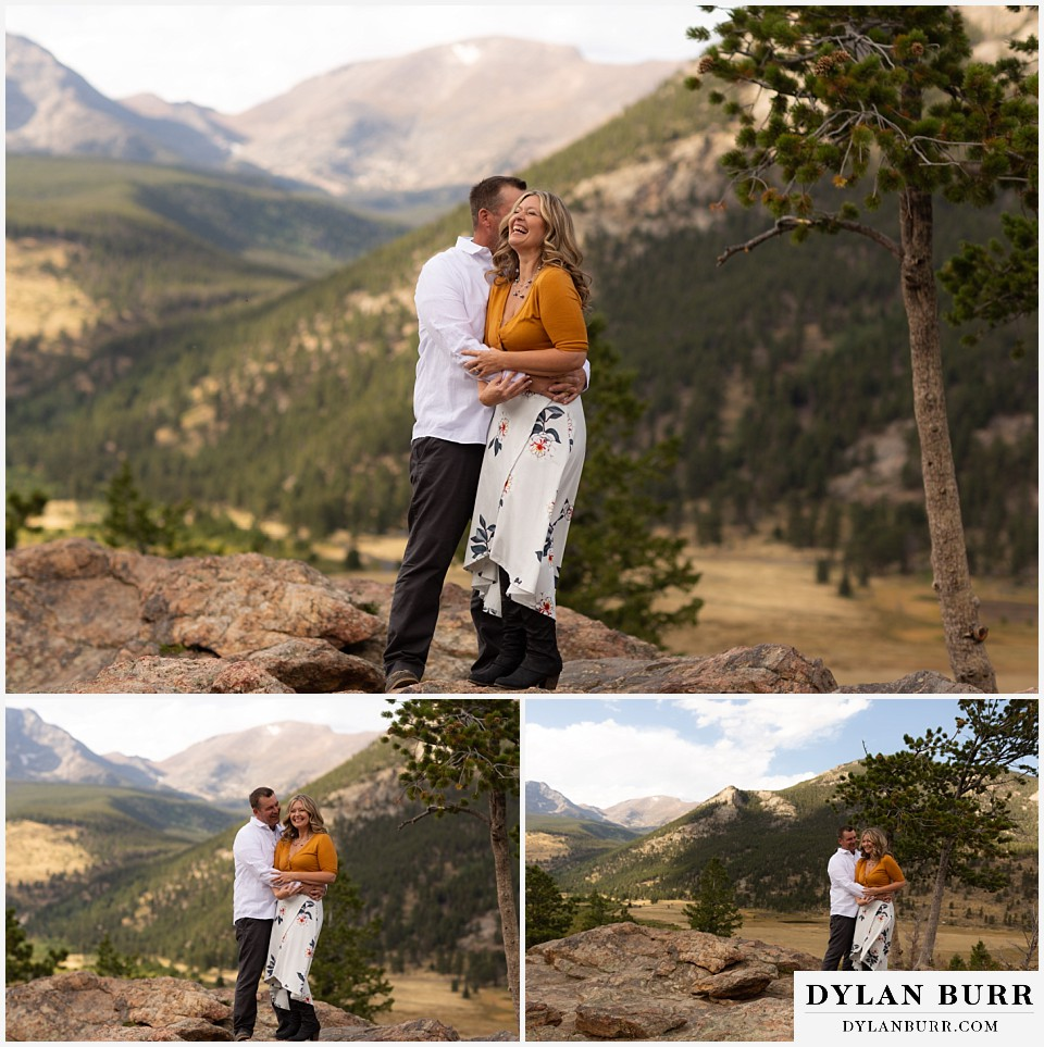 rocky mountain national park elopement wedding bride and groom giggling together