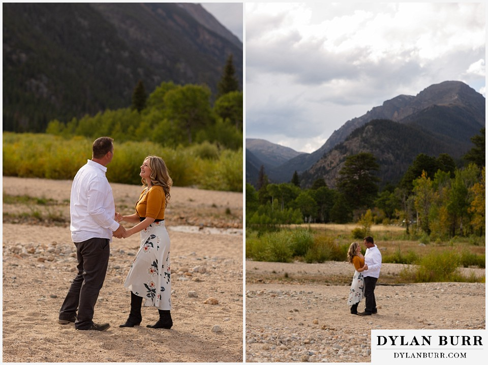 rocky mountain national park elopement wedding bride and groom dancing in valley
