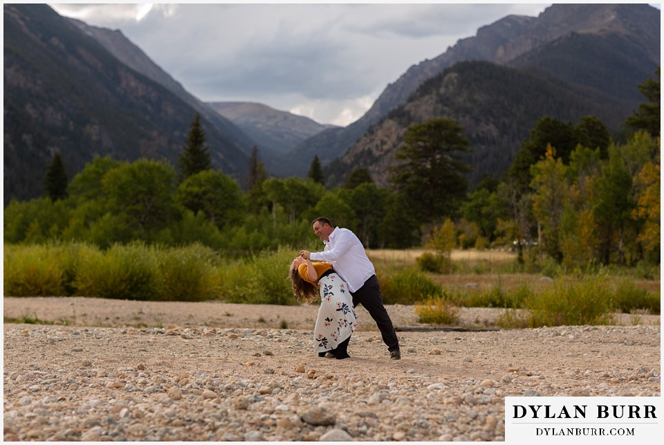 rocky mountain national park elopement wedding groom dips his bride