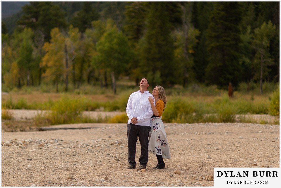 rocky mountain national park elopement wedding shes telling jokes