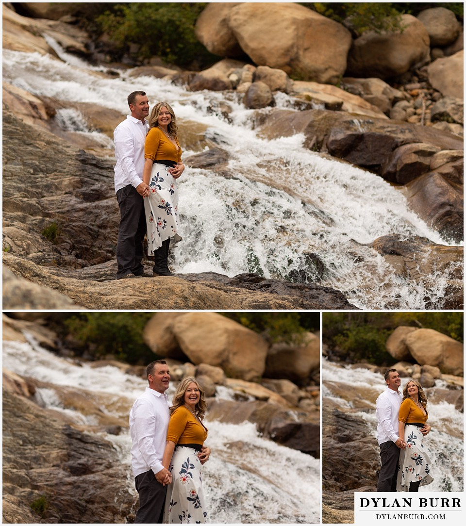 rocky mountain national park elopement wedding couple together in front of waterfall
