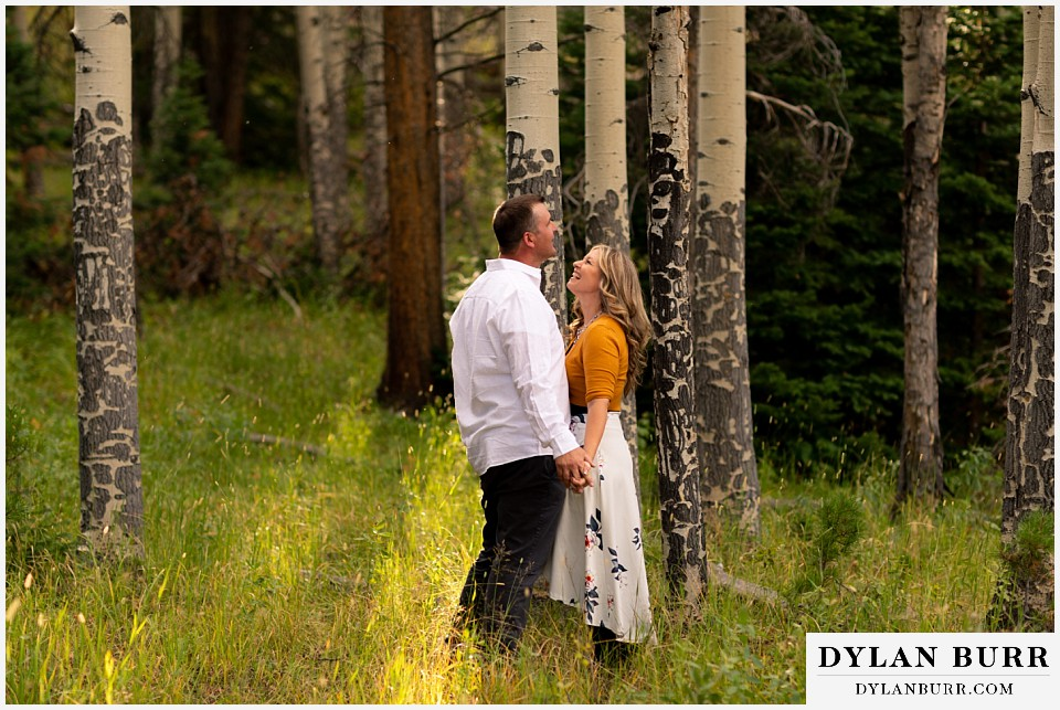 rocky mountain national park elopement wedding bride and groom close in aspen trees