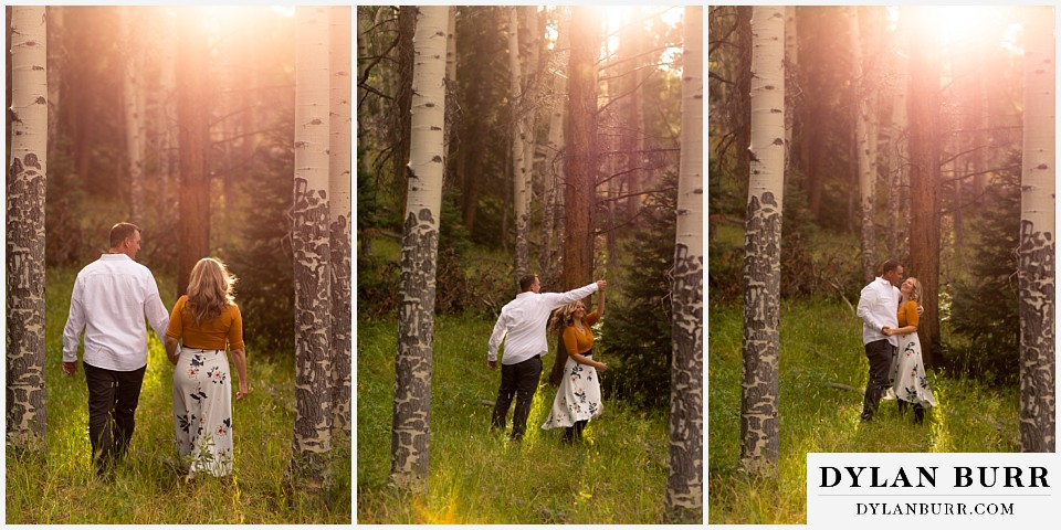 rocky mountain national park elopement wedding bride and groom dancing in sunlight
