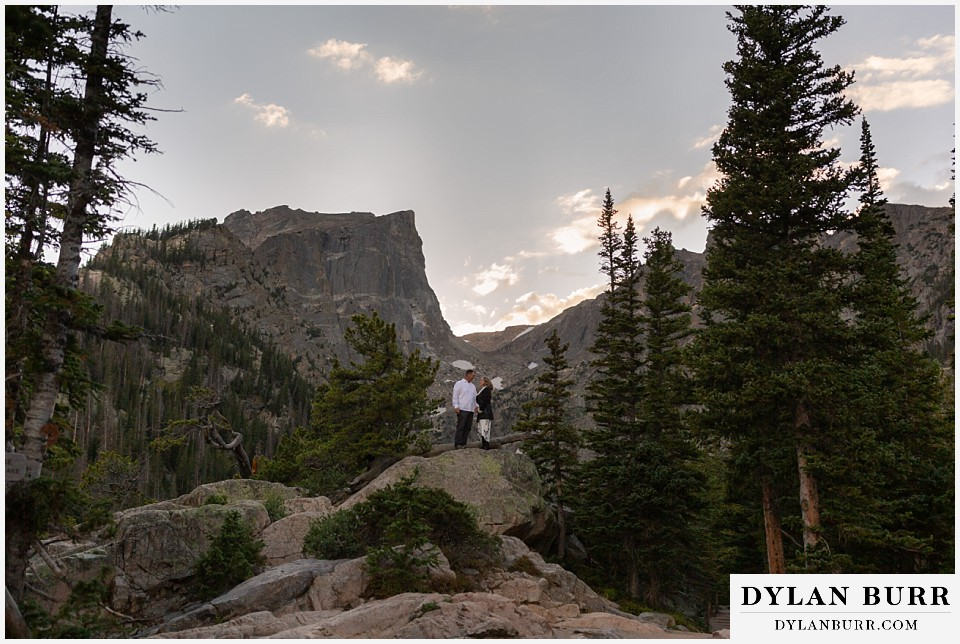 rocky mountain national park elopement wedding bride and groom together in mountains