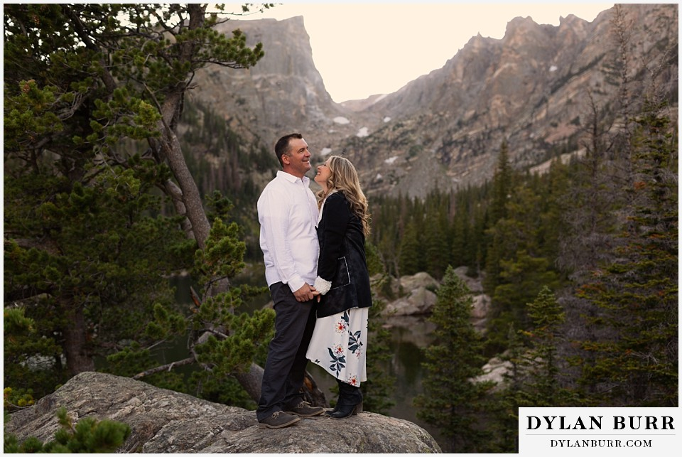 rocky mountain national park elopement wedding couple laughing in mountains