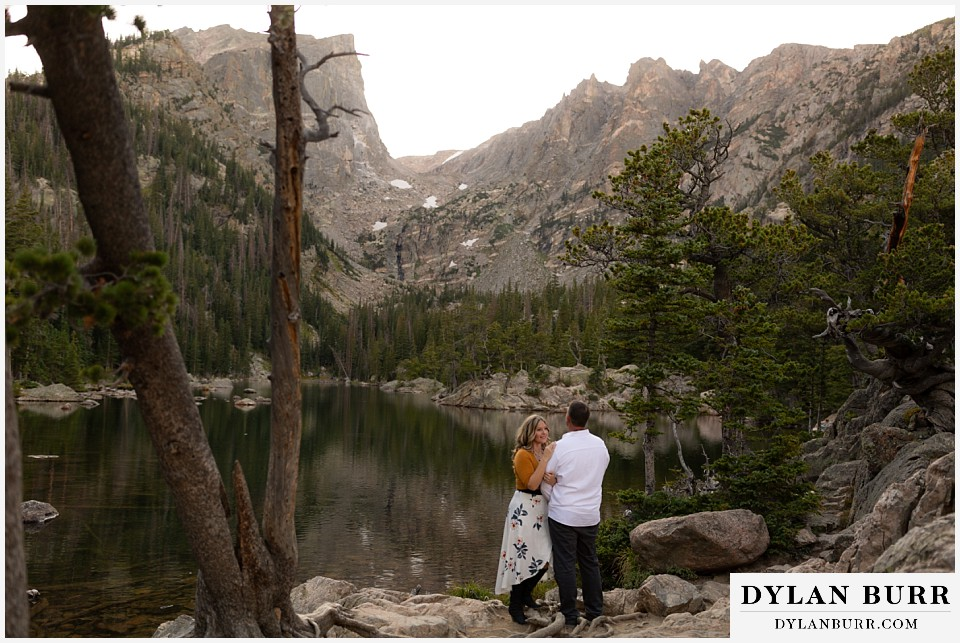rocky mountain national park elopement wedding couple near dream lake