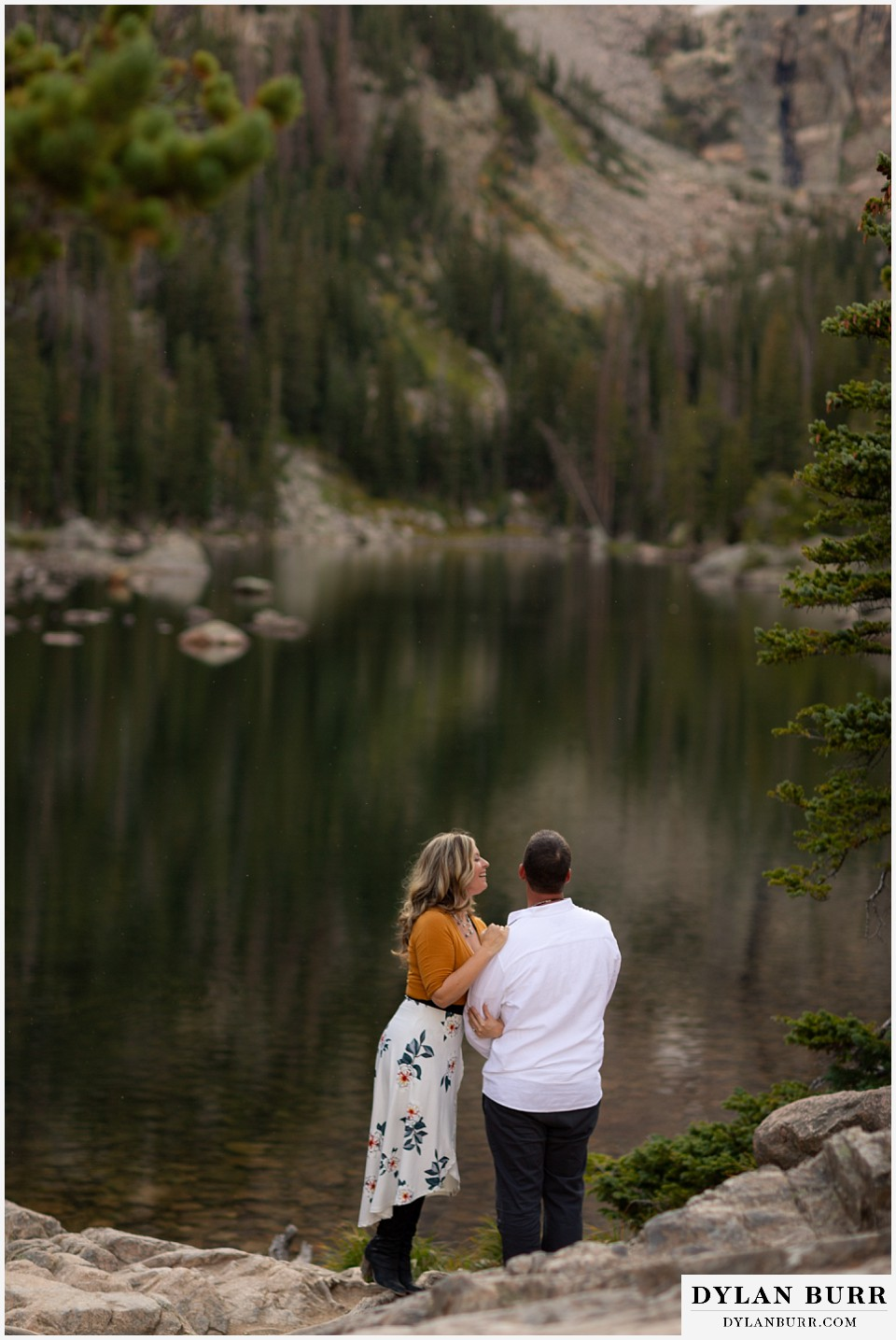 rocky mountain national park elopement wedding newlyweds at high alpine lake