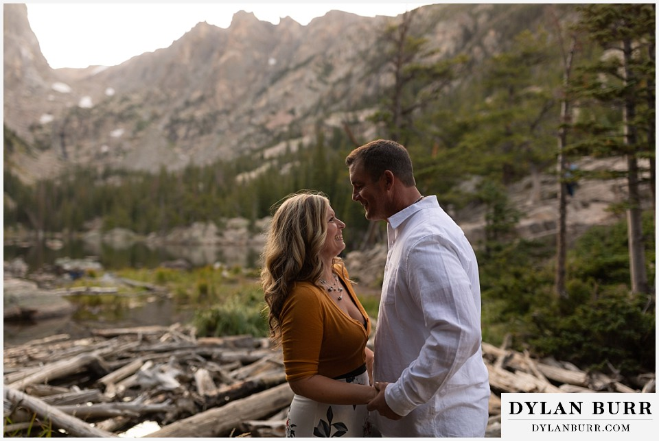 rocky mountain national park elopement wedding bride and groom in alpine mountains