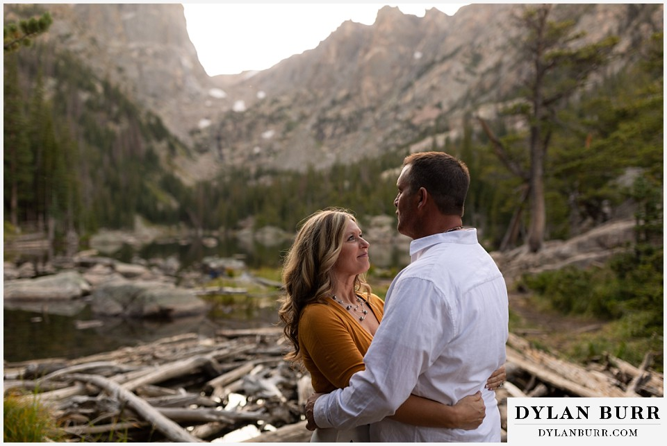 rocky mountain national park elopement wedding couple looking at each other lovingly