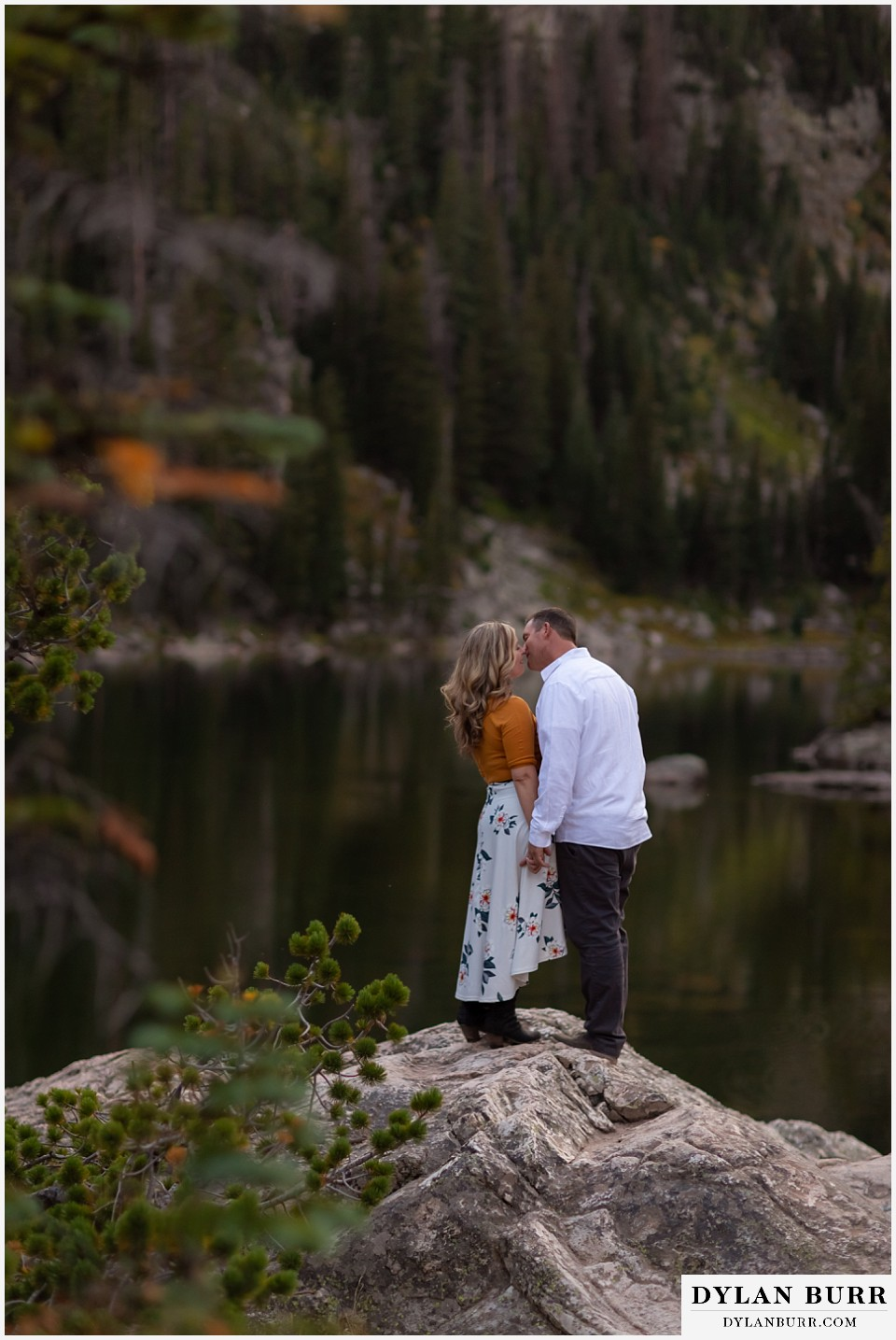 rocky mountain national park elopement wedding husband kissing his wife