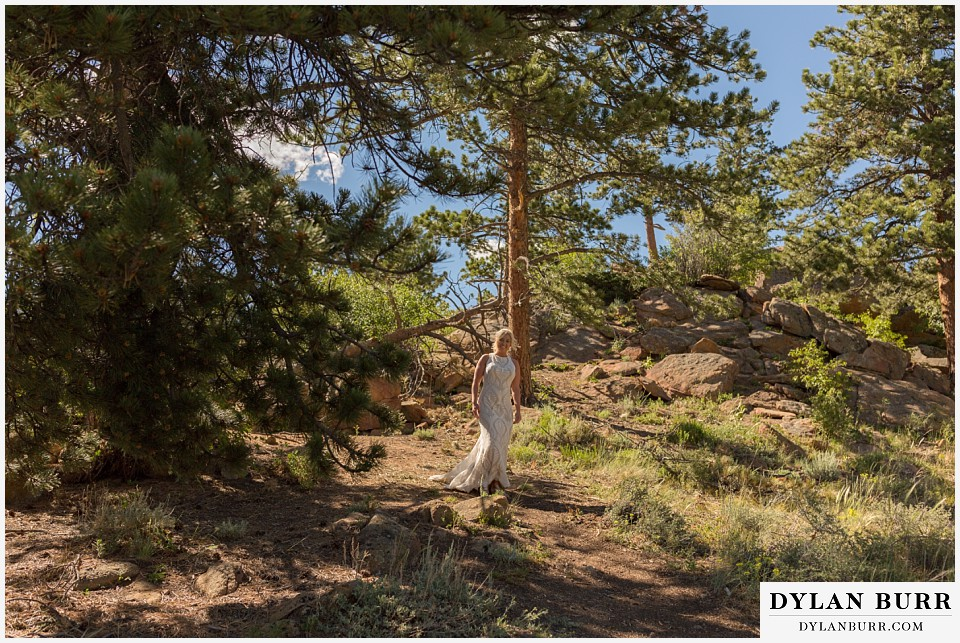 rocky mountain national park wedding elopement walking through the trees to the mountain ceremony