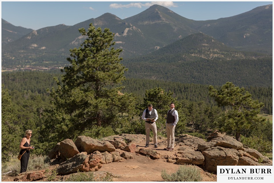 rocky mountain national park wedding elopement groom and best man and maid of honor wait for the bride