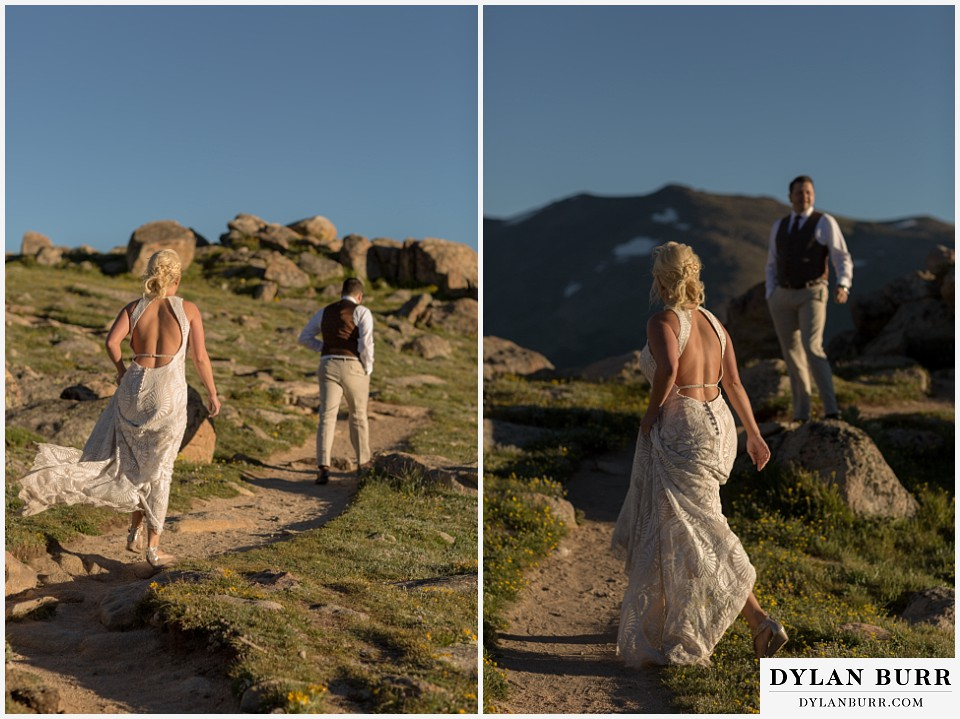 rocky mountain national park wedding elopement bride and groom adventuring on the mountain top