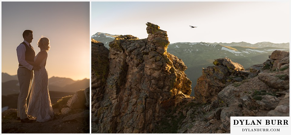 rocky mountain national park wedding elopement bride and groom standing on top of rocks as the sun being to set