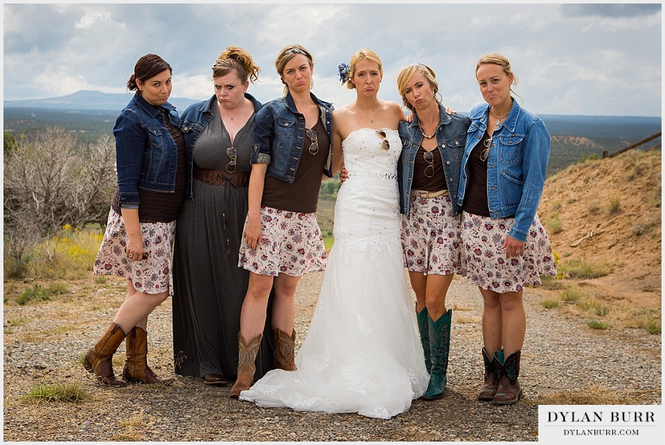 funny bridesmaids sad face outdoor colorado wedding montrose co
