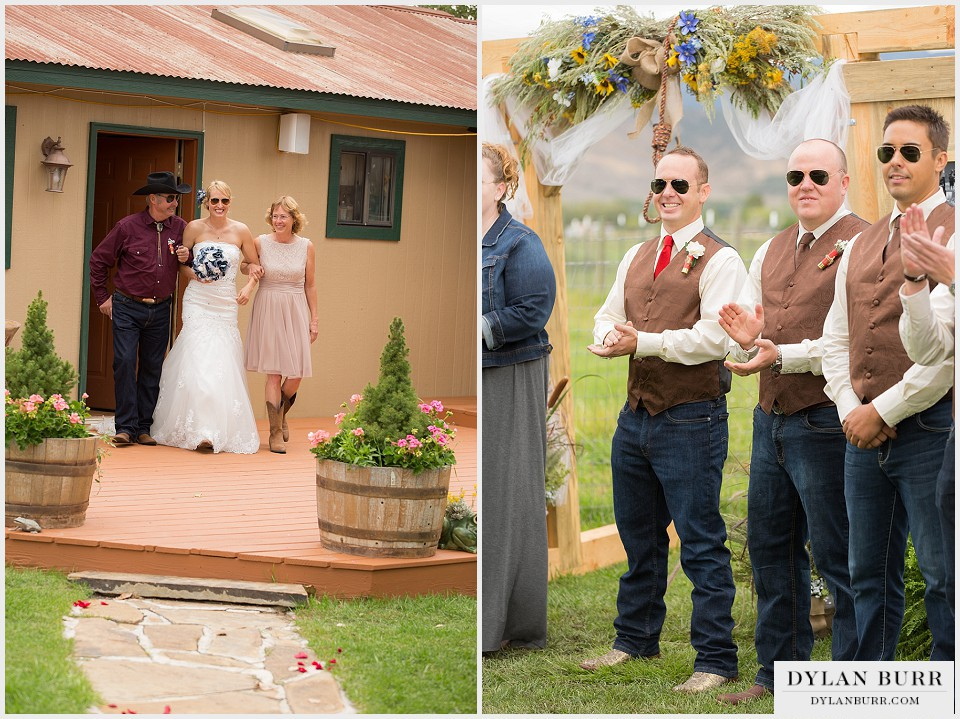 outdoor colorado rustic wedding bride groom montrose