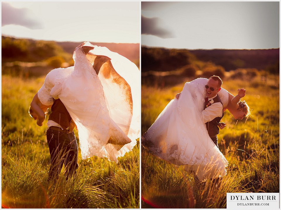 playful outdoor colorado wedding photos groom spinning bride