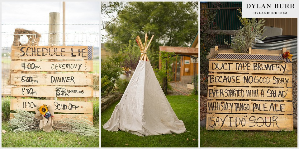 rustic colorado outdoor wedding pallet kids tipi teepee details montrose