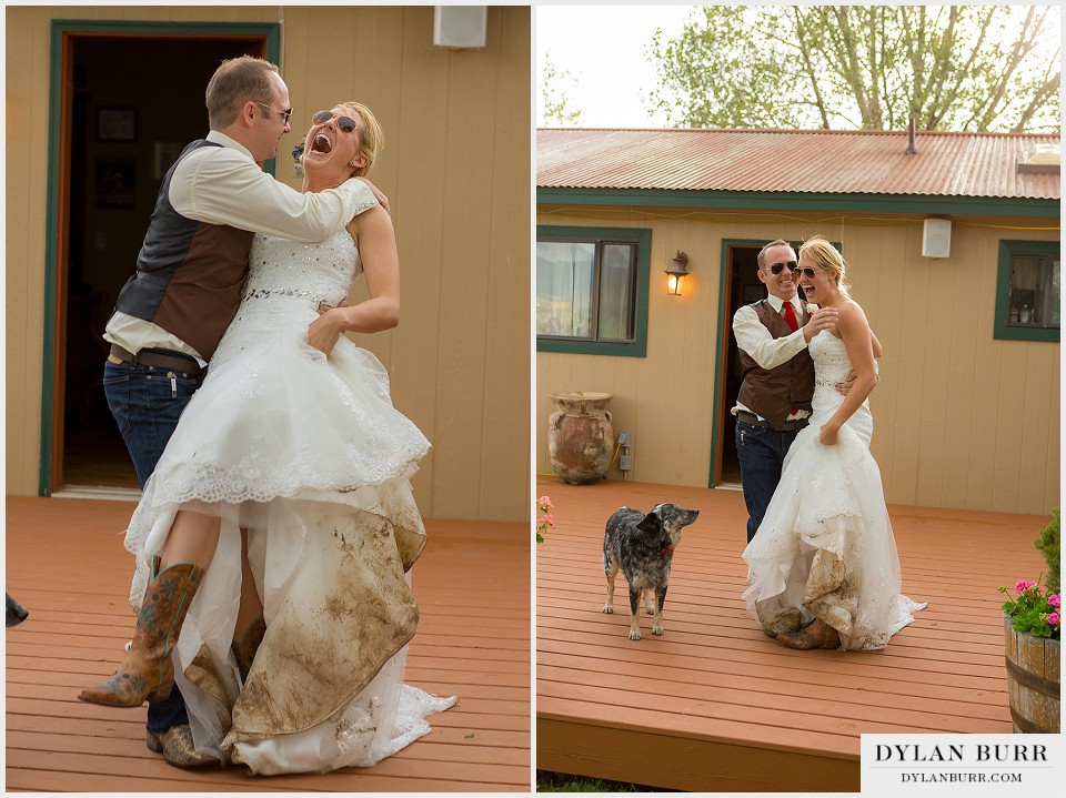 rustic outdoor colordo wedding grand entrance muddy dress