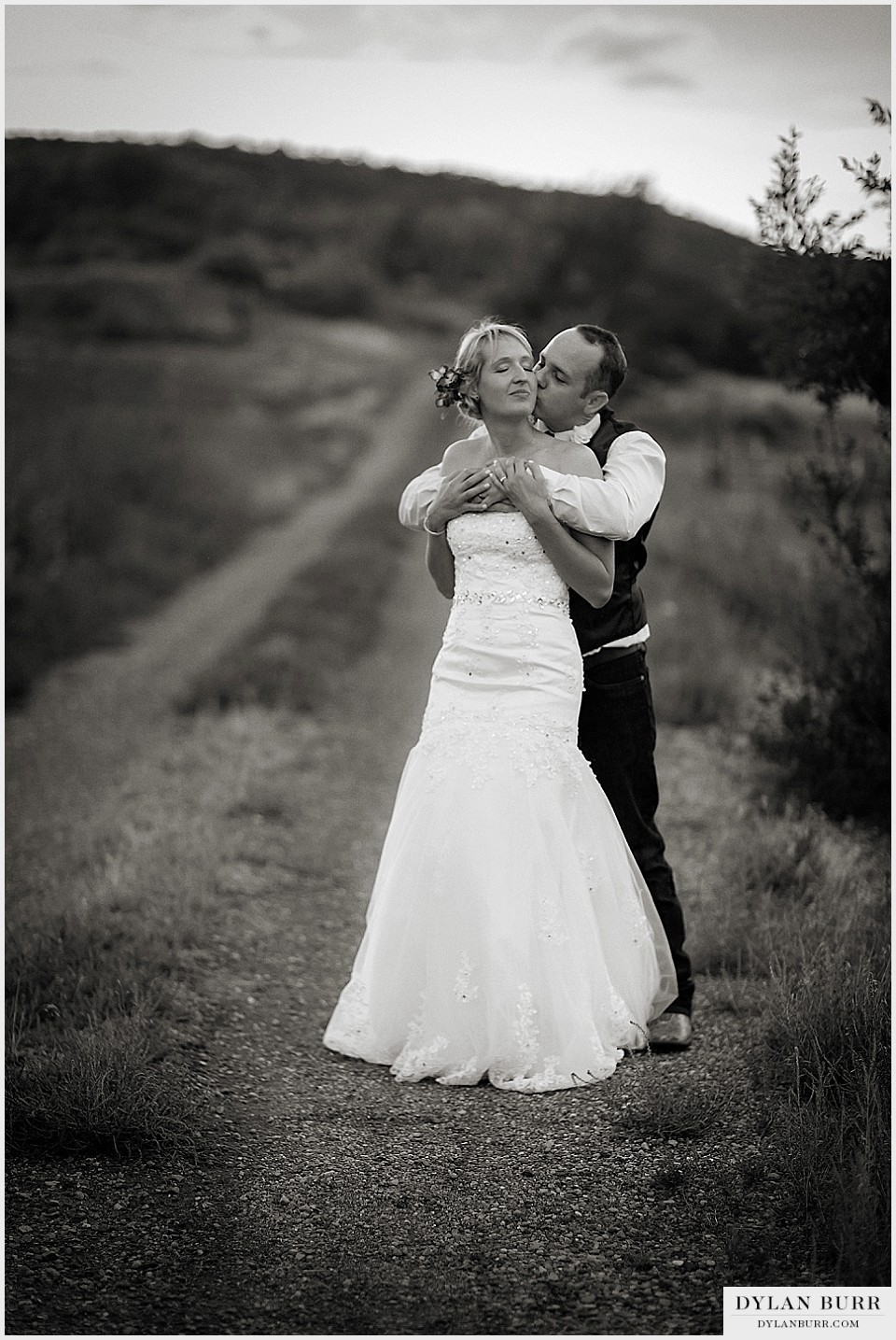 rustic outdoor wedding black white portrait bride groom montrose co