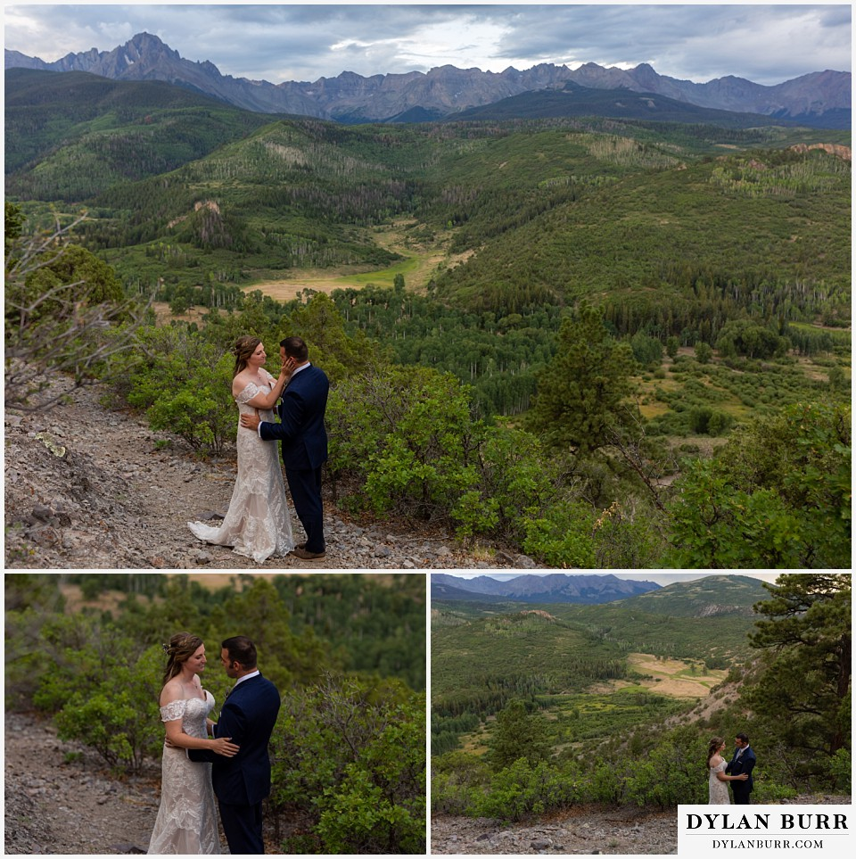 telluride colorado elopement wedding adventure bride and groom during a special moment in mountains
