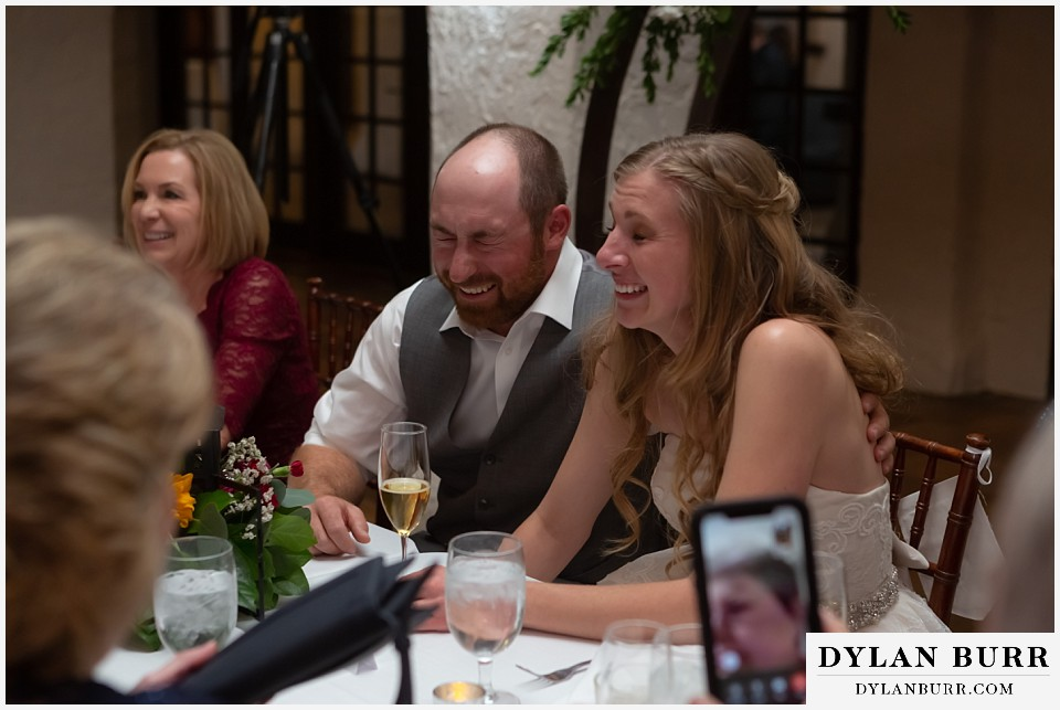 villa parker wedding parker colorado couple laughing at toast