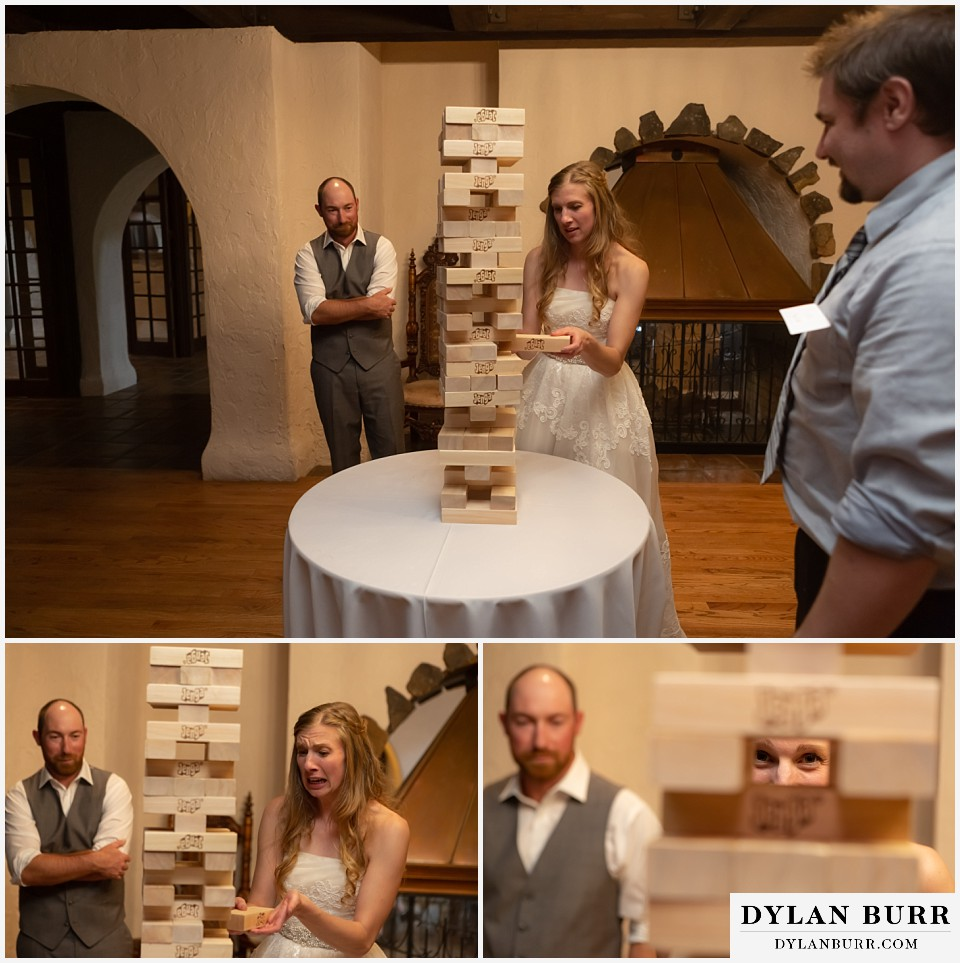villa parker wedding parker colorado bride and groom playing giant jenga
