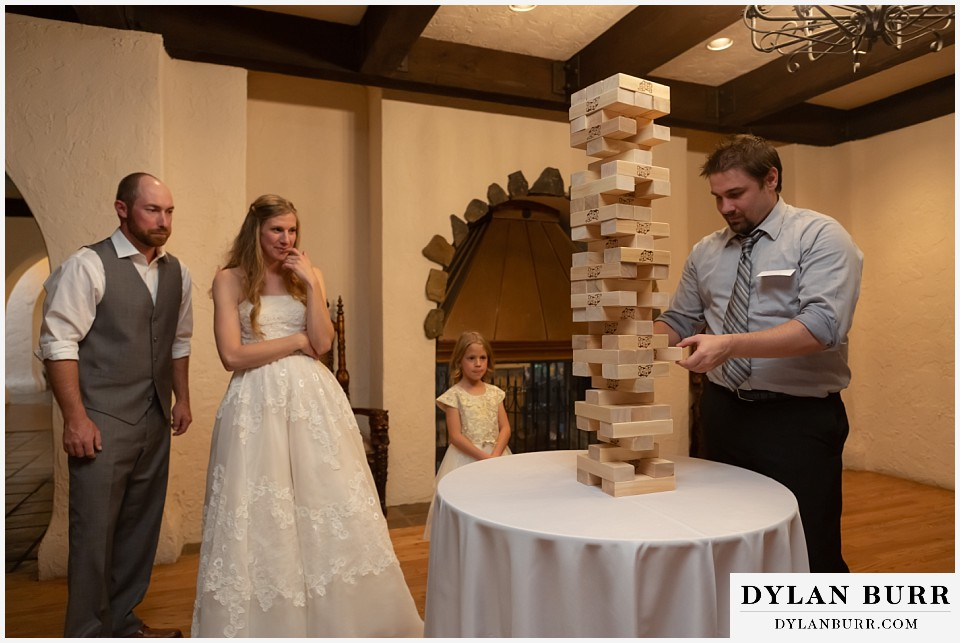 villa parker wedding parker colorado brides brother playing jenga
