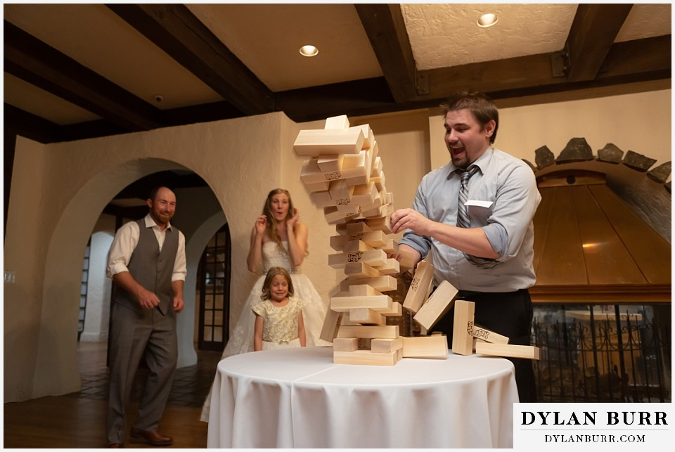 villa parker wedding parker colorado jenga tower begins to fall
