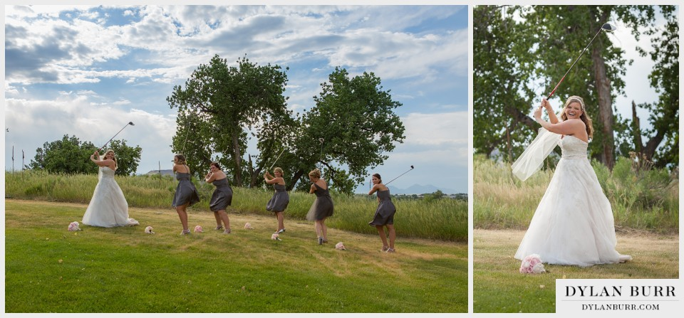denver wedding photographer vista at applewood bridesmaids golfing