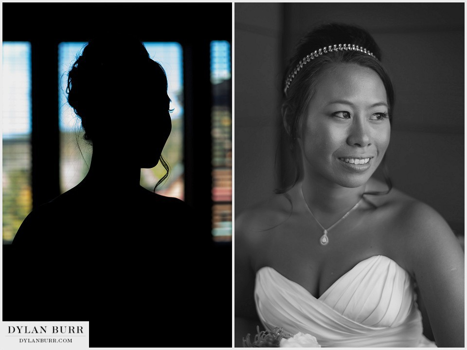 winter park wedding getting ready asian bride black white window