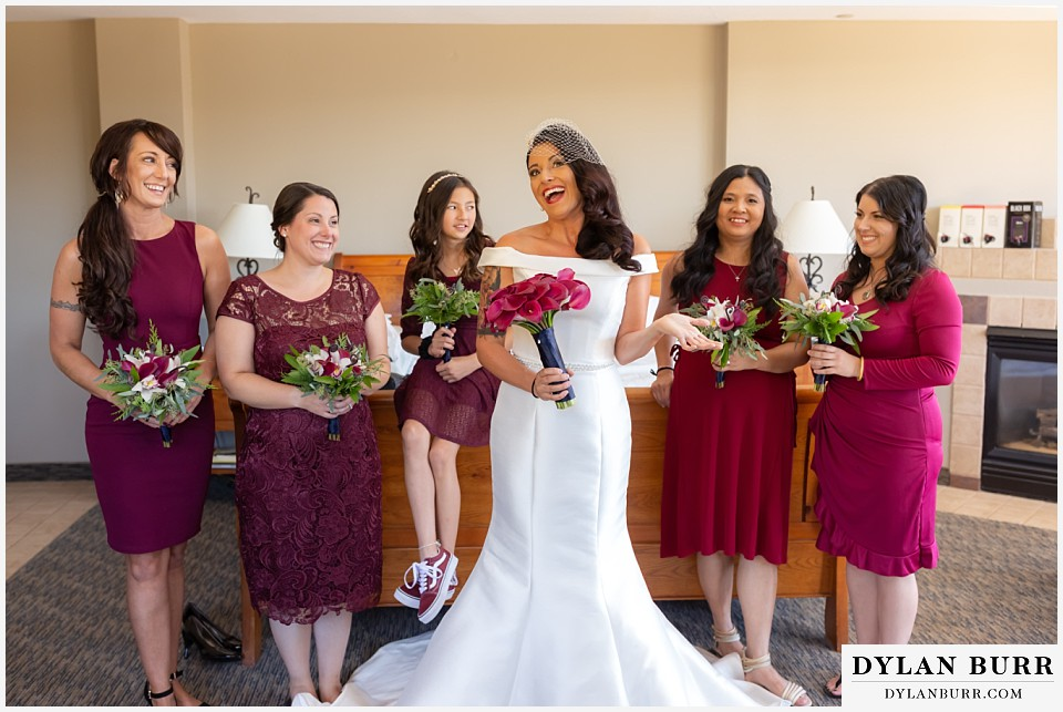 winter park mountain lodge wedding colorado bride with bridesmaids all ready