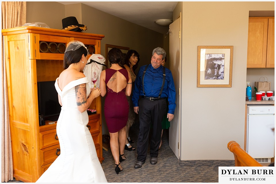 winter park mountain lodge wedding colorado first look with brides father