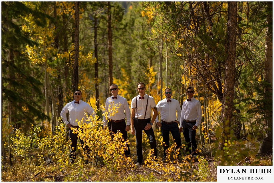 winter park mountain lodge wedding colorado groomsmen in aspen trees