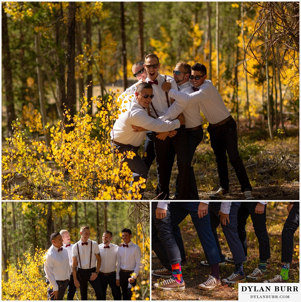 winter park mountain lodge wedding colorado groomsmen having fun in aspen trees groomsmen socks