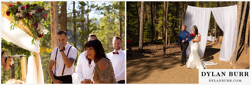 winter park mountain lodge wedding colorado groom sees bride for the first time