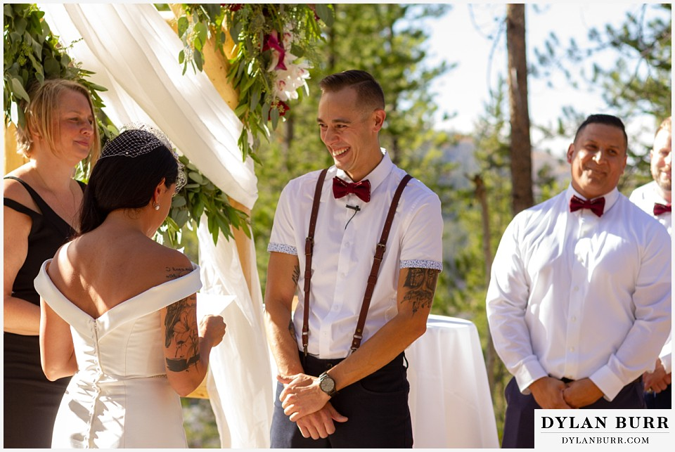 winter park mountain lodge wedding colorado groom smiling