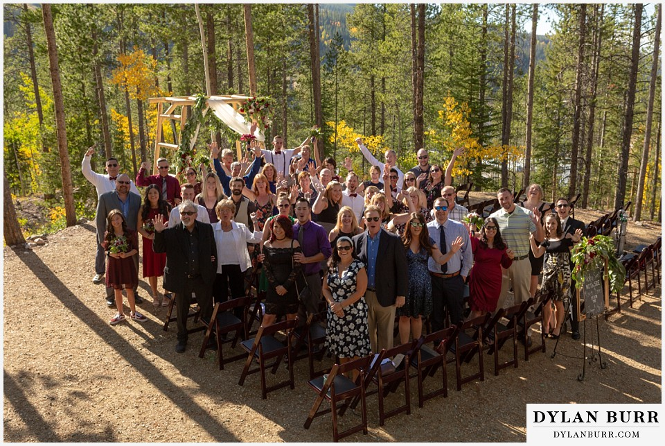 winter park mountain lodge wedding colorado everyone at wedding group photo