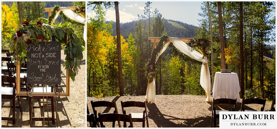 winter park mountain lodge wedding colorado pick a seat not a side sign wedding arbor