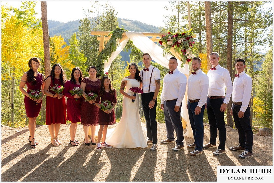 winter park mountain lodge wedding colorado entire wedding bridal party