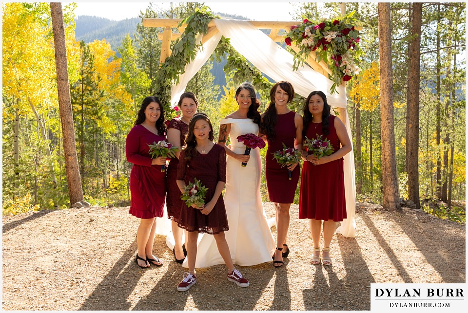 winter park mountain lodge wedding colorado bride with bridesmaids